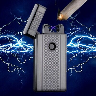 USB Dual Arc Electric Lighter Rechargeable Plasma Windproof Flameless Cigarette