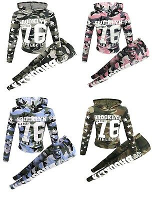 Girls Brooklyn 76 Camouflage Tracksuit Outfits Crop Top Legging 2Pc Set 7-13 Yrs