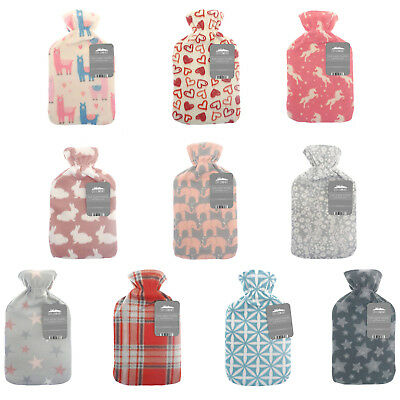 2L Large Quality Hot Water Bottle - Natural Rubber - Soft Fleece Print Cover