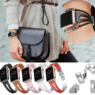 Genuine Leather Watch Band Bracelet Strap for Apple Watch iWatch ALL Series 5 6