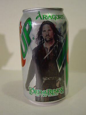 12 oz. DIET 7UP  ( LORD OF THE RINGS- ARAGORN )- VERY NICE, !! BOTTOM OPENED!!
