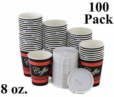 100 Pack 8 Oz. Poly Paper Disposable Hot Tea Coffee Cups with Flat White Lids