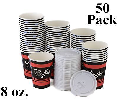 50 Pack 8 Oz. Poly Paper Disposable Hot Tea Coffee Cups with Flat White Lids