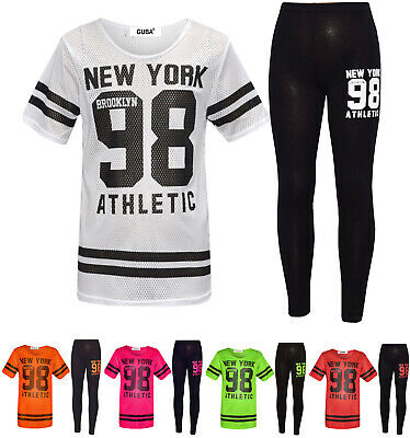 GIRLS NEW YORK 98 NET TRACKSUIT BASEBALL TOP & LEGGING Age 7 8 9 10 11 12 13