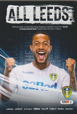 Leeds United v Preston football programme 2018/19