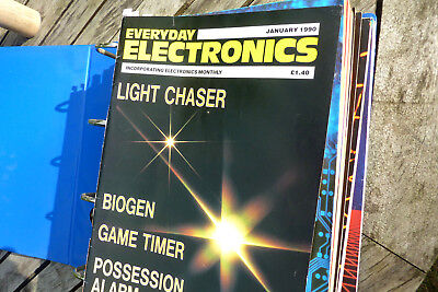 Everyday Electronics magazines 1990, complete year of all 12 issues in binder