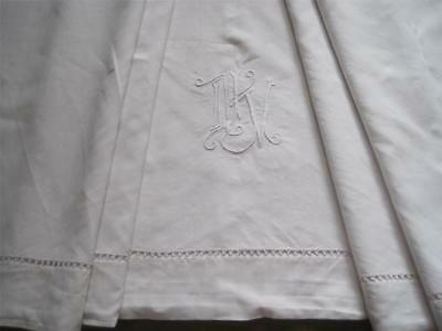 Vintage French Pure Linen Sheet, Lovely Smooth Bedding Fabric Or Voile Curtain