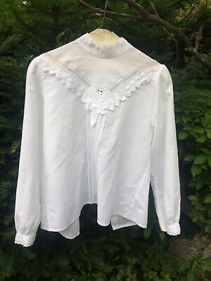 Victorian like women's white S (8) cotton blouse
