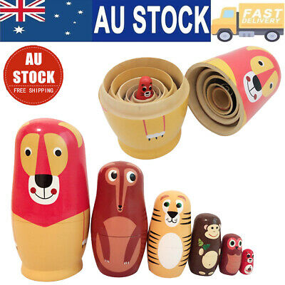 6Pcs/set Fox Animals Russian Nesting Doll 6 Layers Schima Painted Toys Gift AU