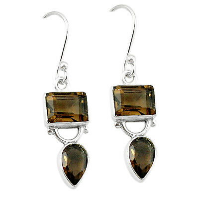 Brown Smoky Topaz 925 Sterling Silver Dangle Earrings Jewelry The Jaipur Shop