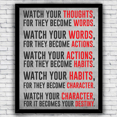 """Watch Your Thoughts"" Motivational Print - wall art (w/ optional frame)"