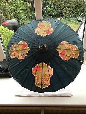 Antique Vintage Oriental Painted Paper and Wood Parasol Antique Butterfly Scene