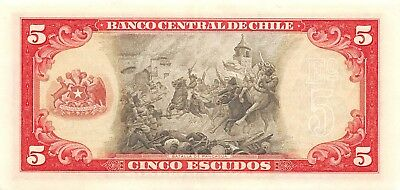Chile  5  Escudos   ND. 1964  P 138  Series  C 11  Circulated Banknote BW