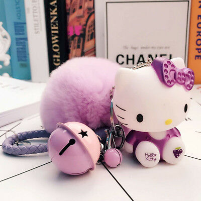 NWT Hello Kitty Pink/ Purple Large Furball Keychain with Bell & Cord-USA SELLER