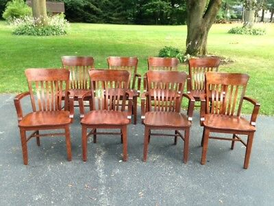 8 Vintage Haywood Wakefield Mahogany Desk Chairs Court Room Chairs Very Nice !