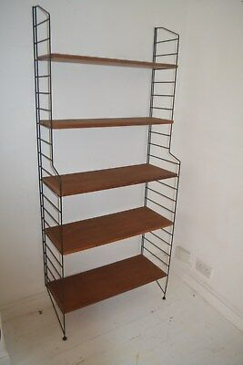 Stunning Vintage Teak & Metal Strinning Bookcase Display Shelf System