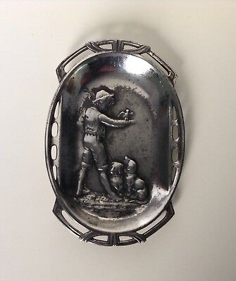 Antique WMF Art Nouveau Card/ PinTray Boy With Bird And Dogs