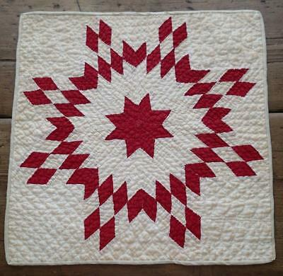 Antique Turkey Red Star Burst Table or Little Doll Quilt 15x15