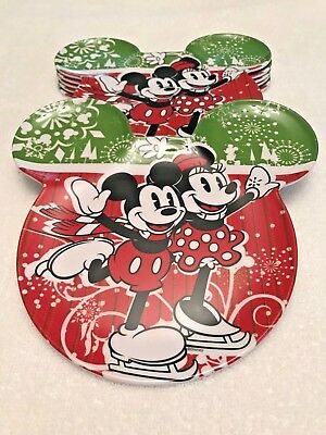 Mickey Mouse Minnie Mouse Walt Disney Plates Mouse Ears Winter Theme Set of 6