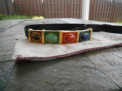 Vintage Alexis Kirk Gold Enamel Stone Buckle Black Snakeskin Cinch Belt W/bag