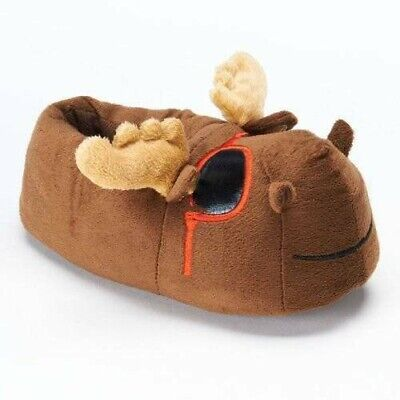 NWT-Kids Boys Girls Brown Moose with Sunglasses Plush Slip On Slippers-size 2/3