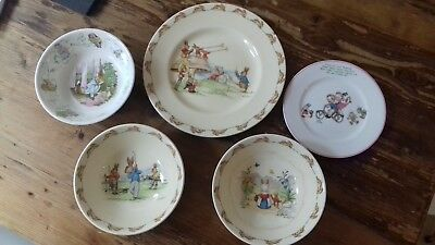 Three pieces of Royal Doulton Bunnykins dinnerware, and two other pieces