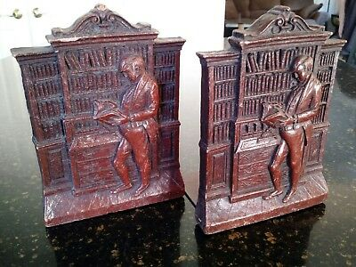 Pair Of Vintage Syroco Wood Bookends Syracuse New York Ny Mcm Modern Wooden