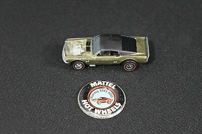 1969 Hot Wheels Redline Mustang Boss Hoss in Olive with black roof + Button