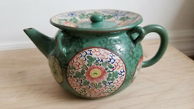 Antique Chinese Yixing Zisha Clay Teapot With Colorful Glaze Rare Design