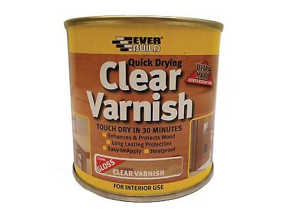 Everbuild EVBWVARCLG02 250 ml Quick Dry Wood Varnish - Gloss Clear