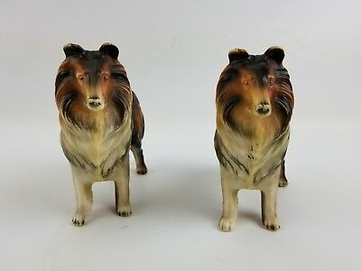 Vintage Hong Kong No 101 Plastic Collie Dog Lassie Toy Figure Canine Lot Of Two