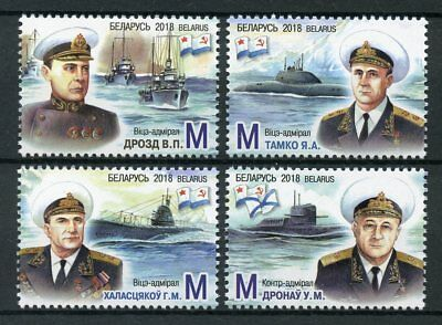 Belarus 2018 MNH Navy Admirals 4v Set Boats Ships Submarines Stamps