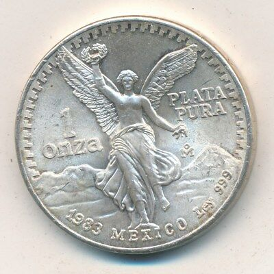 1983 Mexico Libertad Silver One Ounce .999 Brilliant Uncirculated Free S/h! Inv3