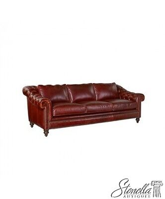 L45569: HENREDON #8885 Tufted Leather Chesterfield Sofa ~ New