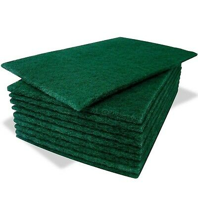 10 Pack Of Heavy Duty Green Catering Kitchen Sponge Scourer Pads