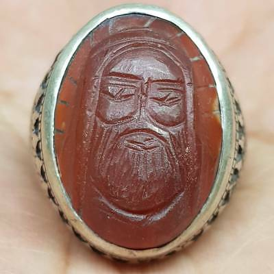 Ancient Rare king Face Wonderful Agate stone silver Ring       # 4G