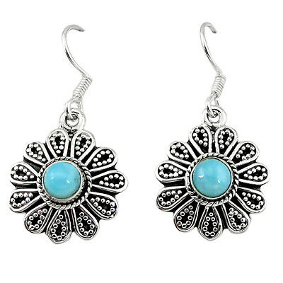 Natural Blue Larimar 925 Sterling Silver Dangle Earrings Jewelry The Jaipur Shop