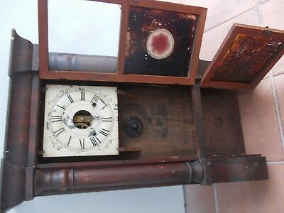 Large Mahogany Wall Clock With Good Patina , New Haven Seth Thomas Connecticut