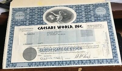 caesar's world cancelled common stock certificate