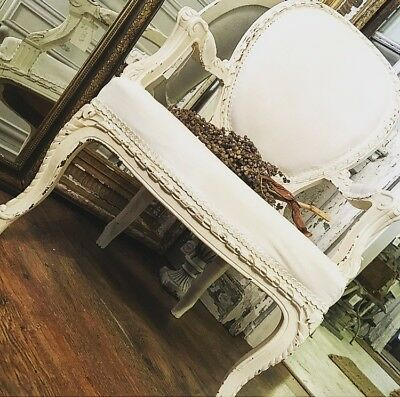 A Pair Of French Louis Armchairs Reupholstered In White French Linen