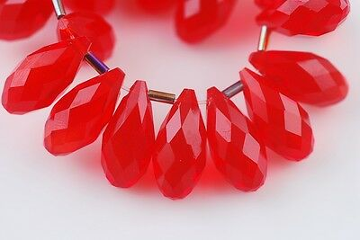 10pcs 20x10mm Teardrop Faceted Crystal Glass Spacer Loose Beads Pendants Red