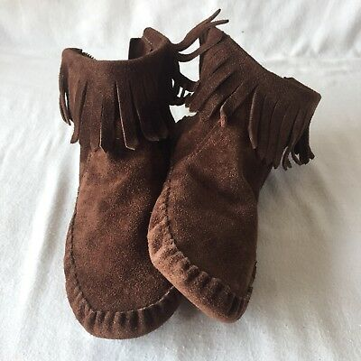 VTG Taos Brown Leather Indian Maiden Moccasins SZ 6 Soft Sole Zip Boot Shoe