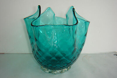 VTG Hand Blown Quilted Venetian Glass Handkerchief Vase Turquoise Blue Italy Art