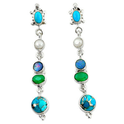 Blue Copper Turquoise Chalcedony Turquoise Pear Dangle Earrings The Jaipur Shop