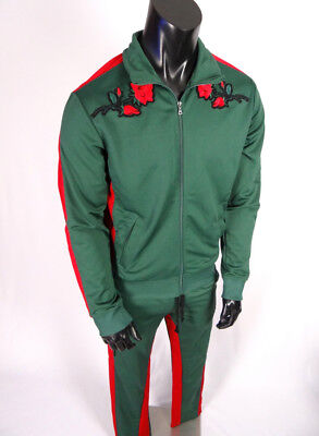 $124 Mens WT02 Tracksuit Set Jacket Sweatpant Embroidered Roses Green Red Stripe