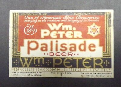 Peter Palisade IRTP Beer Label - Union City, NJ New Jersey