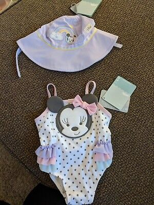 Minnie Mouse Disney Swimsuit 6-9 Month And Swim Hat