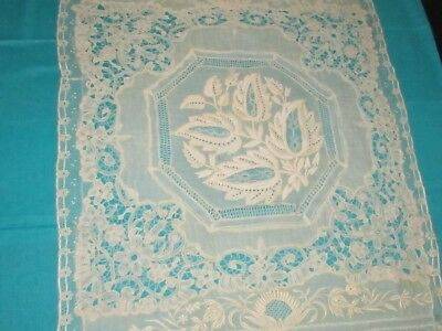 "Antique Mixed Lace Ivory Lace Tray Mat 14"" x 19"" with Embroidery"