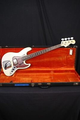 1966 Fender Jazz Bass Olympic White with Original Fender Hardshell Case USA