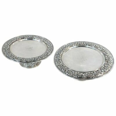 Tiffany Sterling Silver Antique Pair of Taza / Pedestal Dishes